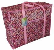 Large pink storage bag with pocket. Feathers design. Toys, washing and laundry bag