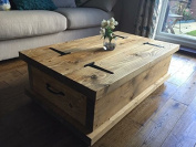 Solid Rustic Handmade Pine Coffee Table Chest, finished in a Chunky Country Oak