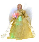 WeRChristmas 30 cm Fibre Optic Angel Decoration Christmas Tree Top Topper with Feather Wings, Gold