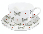 FINE BONE CHINA BREAKFAST CUP AND SAUCER MARBLED WHITE DESIGNED BY DEE HARDWICKE FREE UK POSTAGE
