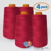 AK-Trading 4-Pack RED Serger Cone Thread (4000 yards each) of Polyester thread for Sewing, Quilting, Serger