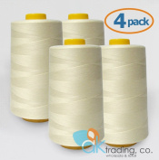 AK-Trading 4-Pack IVORY Serger Cone Thread (4000 yards each) of Polyester thread for Sewing, Quilting, Serger