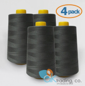 AK-Trading 4-Pack Dark Grey Serger Cone Thread (4000 yards each) of Polyester thread for Sewing, Quilting, Serger