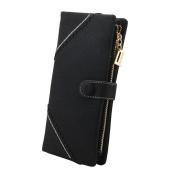 TechSmile® Fashion Leather Wallet Button Purse Lady Long Women's Handbag -Black