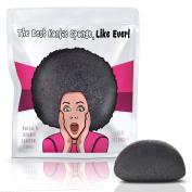 Limited Edition Konjac Sponge By Partie Naturals Activated Charcoal - Facial Sponge, 100% Natural Sponge Suction