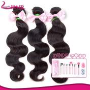 Lin Hair Unprocessed Virgin Brazilian Body Wave Human Hair Extensions Brazilian Natural Hair Weave Weft Bundles #1b 3pcs (41cm 46cm 50cm ) with Free Gift