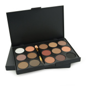 Ucanbe 15 Earth Colour Matte Pigment Eyeshadow Palette Cosmetic Makeup Set Nude Eye Shadow Palettes with a Double End Brush