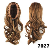 Beauty Wig World 36cm 75g Medium Length Drawstring Clip in/on Ponytail Layered Curly Synthetic Hair Piece
