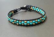 Turquoise Brass Donut Black Leather Bracelet