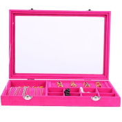 Novadeal Velvet Leather Anti-Static Multifunction Necklace Earring Jewellery Tray Box Glass Rings Pendant Storage Display Organiser - Hot Pink