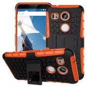 For LG Nexus 5X, Urvoix(TM) Hybrid Heavy Duty Dual Layer Shock Proof Rugged Shell Grenade Grip Tyre (NOT for nexus5) Orange