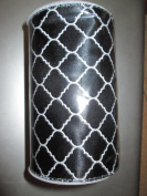 13cm X 3.7m Wired Black/white with Silver Threads in White Geometric Ribbon