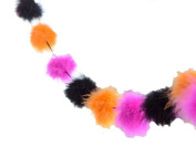 GLITTERVILLE Marabou Feathers Balls Garland Orange Pink Black