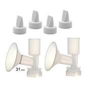 Large Replacement Flange Kit for Ameda Purely Yours, Ultra Breastpump, Flange 31 mm, with Duckbills; Made by Maymom