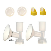 Non-Duckbill, Replacement Flange Kit for Ameda Purely Yours, Ultra Breastpump, Flange 22 mm, with Vave/Membrane; Made by Maymom