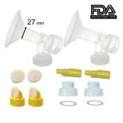 2xOne-Piece Large Flagne (27mm) w/ Valve, Membrane and Bottle Converter for SpeCtra Breast Pumps S1, S2, M1, Spectra 9;Narrow (standard) Bottle Neck; Made by Maymom