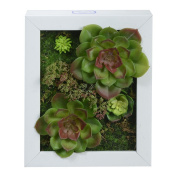 3D Wall Hanger Atificial Flowers Imitation Wood with Frame Shape Vase Succulent Plants Home Decorations for Wedding, White frame, 20cm * 25cm
