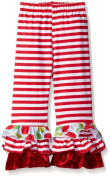 Flap Happy Baby Girls Triple Ruffle Pant, Red Stripe, 24 Months