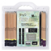 Jerry Q Art 18 Piece High Quality Artist Sketch & Drawing Set- 8 Graphite, 3 Charcoal Pencils, 1 Sketch, 2 Charcoal Sticks, 1Pencil, 1 Charcoal Sharpener, 1 Kneaded, 1 White Plastic Eraser JQ3018
