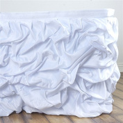 6.4m x 70cm Ruched Lamour Satin Banquet Table Skirt - White