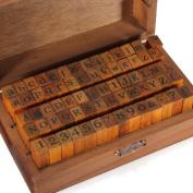 Dwqgroup New 70pcs/set Vintage DIY Multi Purpose Regular Script Number Lowercase Alphabet Letter Decoration Wood Rubber Stamps Set Wooden Box