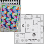 Bundle of Creative Grids Curvy Log Cabin Trim Tool 20cm Finished Blocks and Cut Loose Press Wiggly Worms Curvy Log Cabin Quilt Pattern