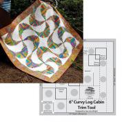 Bundle of Creative Grids Curvy Log Cabin Trim Tool 15cm Finished Blocks and Cut Loose Press Rainbow Swirls Curvy Log Cabin Quilt Pattern