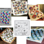 Bundle of Creative Grids Curvy Log Cabin Trim Tool 15cm Finished Blocks and Five (5) Cut Loose Press Curvy Log Cabin Quilt Patterns