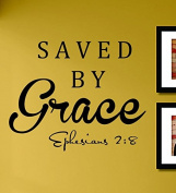 Saved By Grace Vinyl Wall Decals Quotes Sayings Words Art Decor Lettering Vinyl Wall Art Inspirational Uplifting