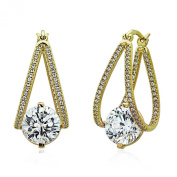 Sterling Silver 14K Yellow Gold Plated 9mm Round CZ Invisible Set Drop Earring
