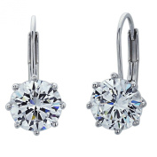 Sterling Silver Rhodium Plated, 8mm Round CZ Prong Set Queen's Crown Drop Earring