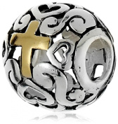 Charmed Beads Sterling Silver Cross Cutout Bead Charm