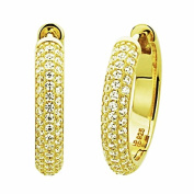 Sterling Silver 14K Yellow Gold Plated Round CZ Pave Set Domed Hoop Earrings