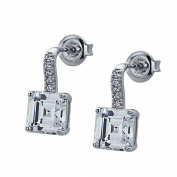 Sterling Silver Rhodium Plated, Emerald Step Cut CZ Prong Set Drop Stud Earrings
