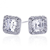 Sterling Silver Rhodium Plated, Emerald Step Cut CZ Halo Stud Earrings