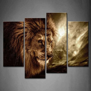 Wall art painting 4 Panel Wall Art Brown Fierce Lion Against Stormy Sky Painting The Picture Print On Canvas Animal Pictures For Home Decor Decoration Gift piece