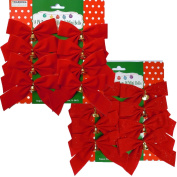 16 Small 10cm x 13cm Red Christmas Bows with Metal Bells - 8 With Glitter and 8 Without Glitter
