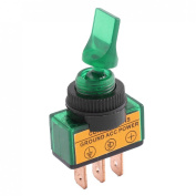 Baomain ASW-14D DC 12V 20A 1.2cm Green Lamp Short Arm 2 Positions SPST Locking Toggle Switch