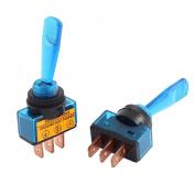 "Baomain 5pcs DC 12V 20A Blue Light 12mm Panel 0.47"" Mount SPST Latching Toggle Switch ASW-14D"