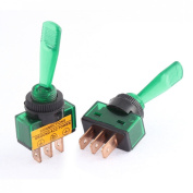Baomain 2pcs DC 12V 20A Green Light 2 Positions SPST Latching Toggle Switch