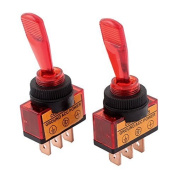 Baomain Red Toggle Switch DC 12V 20A SPDT 2-Position ON/OFF 12mm Thread ASW-13D 2 Pcs