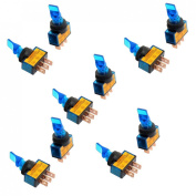 Baomain 1.2cm Mount Blue Light Toggle Switch 12VDC 20A Two Position ON/OFF SPST 10 Pcs