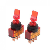 Baomain 2pcs Car Toggle Switch ASW-14D DC12V 20A Red Indicator 3 Pin SPST On/Off