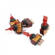 Baomain 5pcs Car Toggle Switch ASW-14D DC12V 20A Red Indicator 3 Pin SPST On/Off