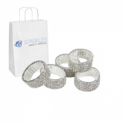 Sparkles Make It Special 25-pcs Premium Crystal Real Rhinestone Napkin Rings Diamond Silver