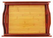 Wood Serving Tray - Large Medium Stackable Carrying Tray with Handles - Brown - 2 Piece Set