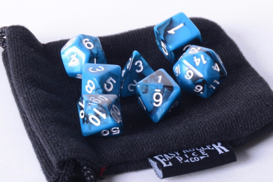 Black Ice Polyhedral Dice Set | 7 Piece | PRISTINE Edition | FREE Carrying Bag | Hand Checked Quality.