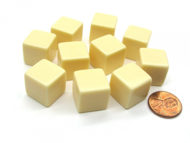 Set of 10 D6 16mm Blank Opaque Dice - Ivory