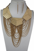 TFJ Women Fashion Necklace Gold Metal Chain Big Mayan Style Plates Wave Dangle Jewellery + Earrings Set