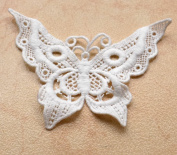 White Clothing Accessories Applique Embroidered Butterfly 13cm X4""